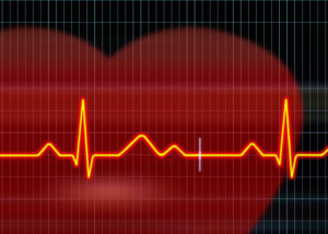 accident heart beat with red heart background