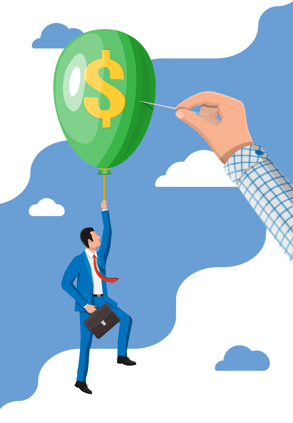 Illustration of businessman with rising income shown by him grasping a floating balloon about to be popped by a needle (due to lifestyle creep debts)