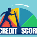 Cartoon graphic pushing the hand of a credit metre towards a good credit score